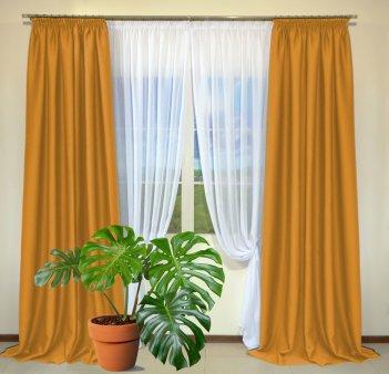 Готовые шторы из портьеры Diamond оранжевого цвета 11 Oranj (2 шт х 1,5 м)