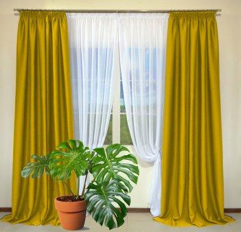 Готовые шторы из портьеры Diamond желто-оранжевого цвета 12 K Sari (2 шт х 1,5 м)