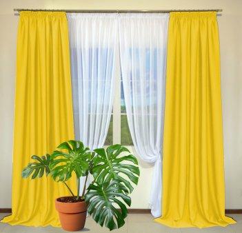 Готовые шторы из портьеры Diamond желтого цвета 12478 Sari (2 шт х 1,5 м)