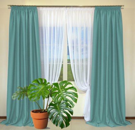 Готовые шторы из портьеры Diamond насыщенно-бирюзового цвета 12482 A Petrol (2 шт х 1,5 м) недорого