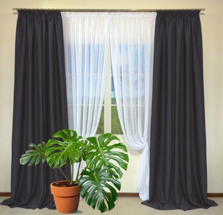Готовые шторы из портьеры Diamond темно-серого цвета 12484 Antrasit (2 шт х 1,5 м) недорого