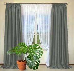 Готовые шторы из портьеры Diamond серого цвета 12488 Gri (2 шт х 1,5 м)