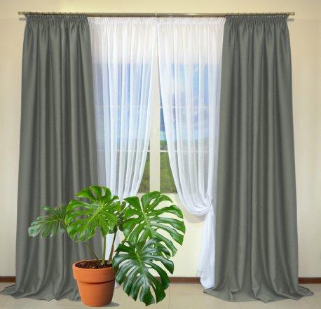 Готовые шторы из портьеры Diamond серого цвета 12488 Gri (2 шт х 1,5 м) недорого