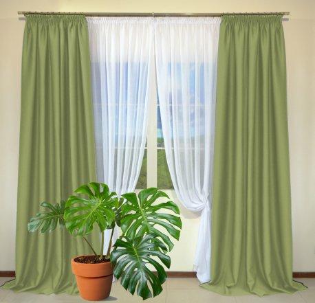 Готовые шторы из портьеры Diamond светло-зеленого цвета 14 Su Yesily (2 шт х 1,5 м) недорого