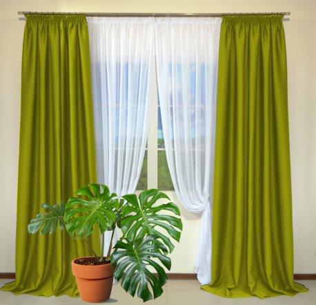 Готовые шторы из портьеры Diamond темно-салатового цвета 15 Yag Yesili (2 шт х 1,5 м) недорого