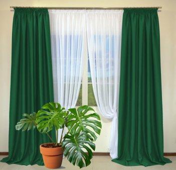 Готовые шторы из портьеры Diamond бутылочно-зеленого цвета 17 Koyo Yesil (2 шт х 1,5 м)