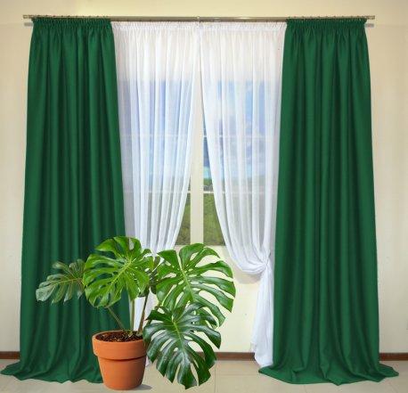 Готовые шторы из портьеры Diamond бутылочно-зеленого цвета 17 Koyo Yesil (2 шт х 1,5 м) недорого