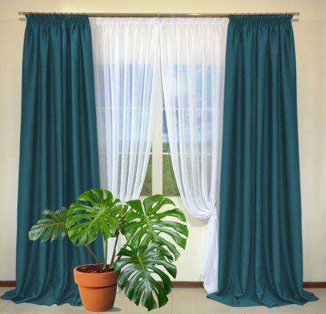 Готовые шторы из портьеры Diamond темно-бирюзового цвета 18 Petrol (2 шт х 1,5 м) недорого