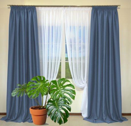 Готовые шторы из портьеры Diamond синего цвета 19 Achik Indigo (2 шт х 1,5 м) недорого
