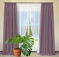 Готовые шторы из портьеры Diamond светло-сиреневого цвета 21 Koyo Lila (2 шт х 1,5 м)