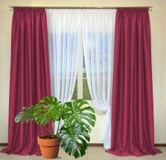 Готовые шторы из портьеры Diamond ярко-розового цвета 22 Fuksia (2 шт х 1,5 м)