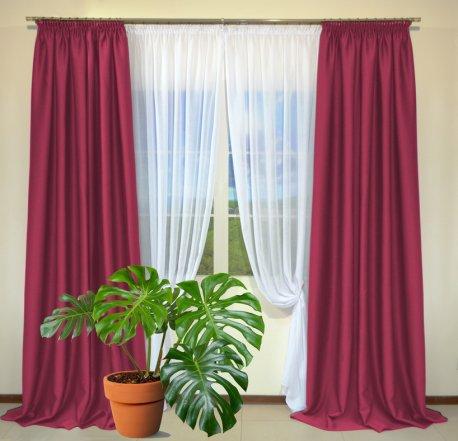 Готовые шторы из портьеры Diamond ярко-розового цвета 22 Fuksia (2 шт х 1,5 м) недорого
