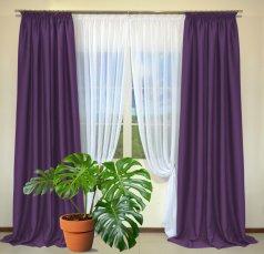 Готовые шторы из портьеры Diamond темно-фиолетового цвета 24 Mor (2 шт х 1,5 м)