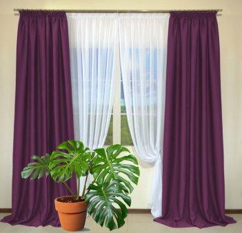 Готовые шторы из портьеры Diamond вишневого цвета 25 Visne (2 шт х 1,5 м)