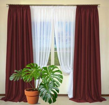 Готовые шторы из портьеры Diamond бордового цвета 27 Bordo (2 шт х 1,5 м)