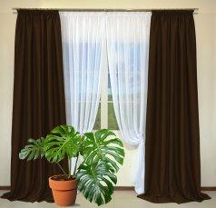 Готовые шторы из портьеры Diamond темно-коричневого цвета 28 Kahve (2 шт х 1,5 м)