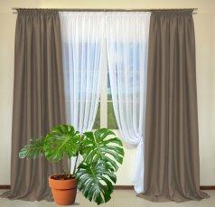 Готовые шторы из портьеры Diamond светло-коричневого цвета 29 Sutlu Kahve (2 шт х 1,5 м)