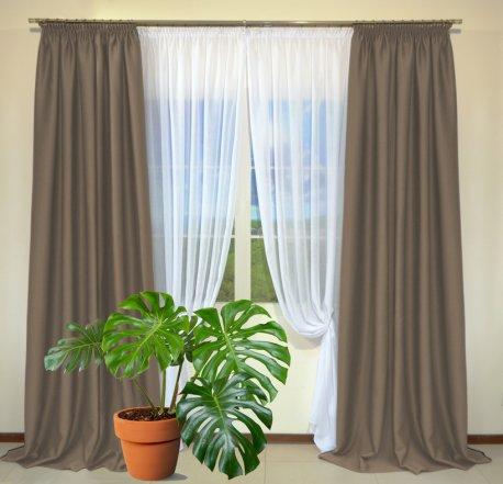 Готовые шторы из портьеры Diamond светло-коричневого цвета 29 Sutlu Kahve (2 шт х 1,5 м) недорого