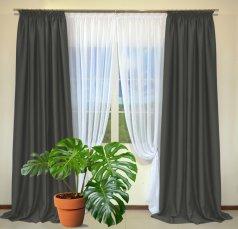 Готовые шторы из портьеры Diamond темно-серого цвета 30 Koyo Gri (2 шт х 1,5 м)