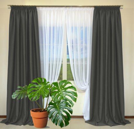 Готовые шторы из портьеры Diamond темно-серого цвета 30 Koyo Gri (2 шт х 1,5 м) недорого