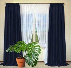 Готовые шторы из портьеры Diamond темно-синего цвета 32 Koyo Laci (2 шт х 1,5 м)