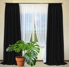 Готовые шторы из портьеры Diamond черного цвета 33 Siyah (2 шт х 1,5 м)