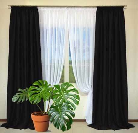 Готовые шторы из портьеры Diamond черного цвета 33 Siyah (2 шт х 1,5 м) недорого