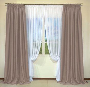 Готовые шторы из портьеры Diamond пудрового цвета 34 Pudra (2 шт х 1,5 м)