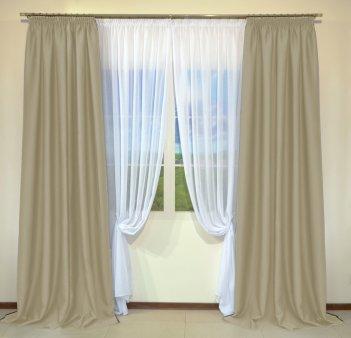 Готовые шторы из портьеры Diamond бежевого цвета 35 BEJ (2 шт х 1,5 м)