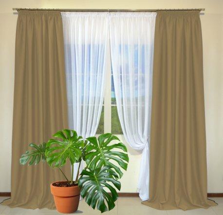 Готовые шторы из портьеры Diamond цвета какао 36 Kakao (2 шт х 1,5 м) недорого