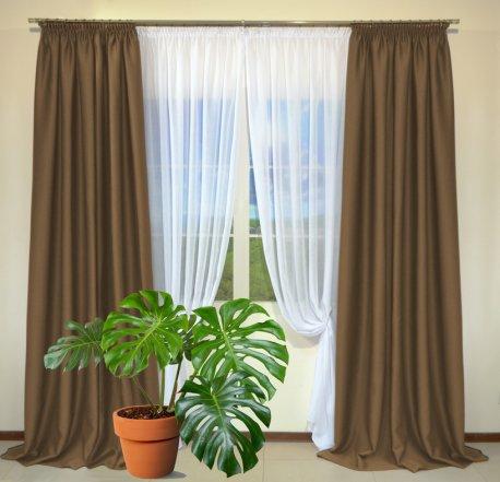 Готовые шторы из портьеры Diamond светло-кофейного цвета 37 A Kahve (2 шт х 1,5 м) недорого