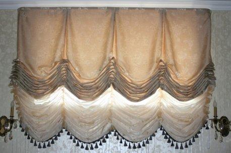 Австрийские шторы в комплекте с французскими шторами недорого