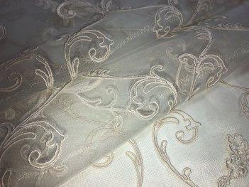 Готовый тюль с вышивкой пудрового цвета