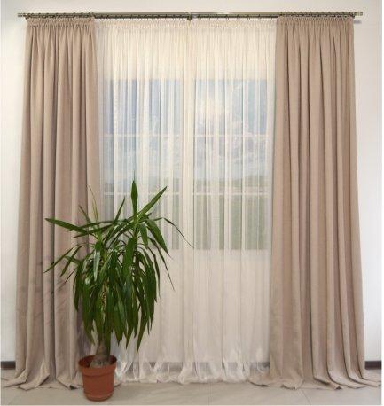 Комплект их 2-х штор из ткани DIAMОND бежевый шириной 2 метра и сетки NET бежевой шириной 6 метров недорого