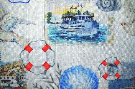 """Ткань для штор """"Бодрум"""" синяя недорого"""