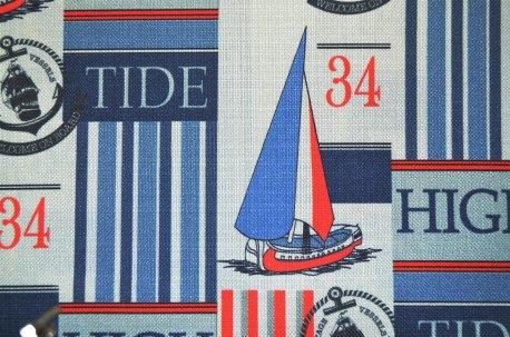 """Ткань для штор """"Vessels"""" сине-красная недорого"""