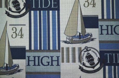 """Ткань для штор """"Vessels"""" сине-бежевая недорого"""