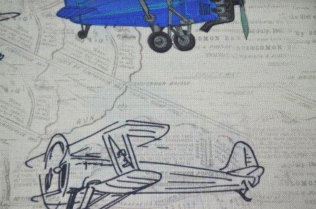 """Ткань портьерная """"Airplanes"""" красно-синяя недорого"""