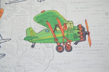 """Ткань портьерная """"Airplanes"""" желто-зеленая недорого"""