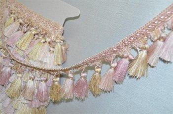 Бахрома для штор бежево - розовая