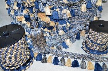 Бахрома для штор сине - бежевая