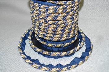 Шнур тонкий сине - бежевый