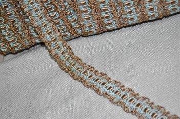 Тесьма декоративная бежево - голубая