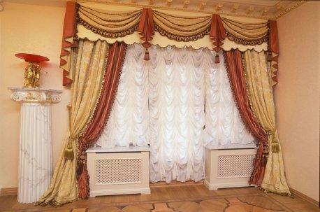 Французские тюли с классическими шторами недорого