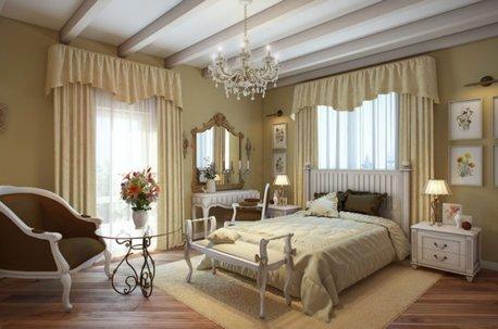 Шторы в спальне с классическими ламбрекенами в бежевых тонах недорого