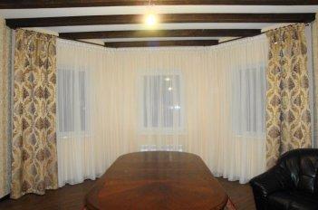 """Однотонный тюль с классическими шторами из ткани """"Маргарита"""""""