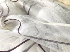 Органза белая с сиреневыми полосками