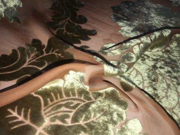 Гардина Лакшери терракотовая с оливково-золотым вензелем