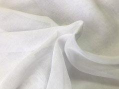 Гардина пол лен однотонная белая