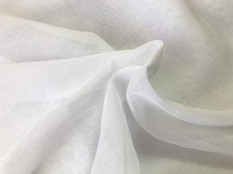 Гардина пол лен однотонная белая недорого